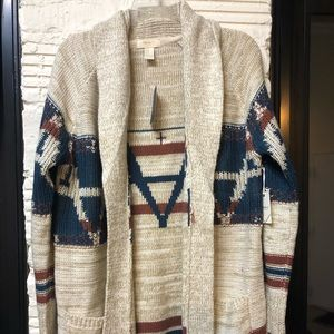 Cream & patterned cozy cardigan